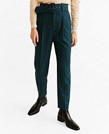 Belted Check Trousers