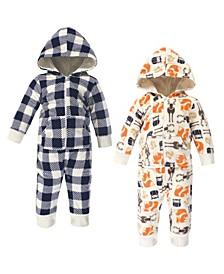 Baby Boy Fleece Jumpsuits, 2 Pack