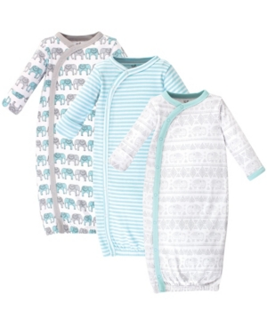 Touched By Nature Baby Boy Organic Kimono Gown, 3 Pack