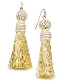 INC Gold-Tone Imitation Pearl & Tassel Drop Earrings, Created For Macy's
