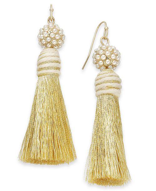 INC International Concepts INC Gold-Tone Imitation Pearl & Tassel Drop Earrings, Created For Macy's