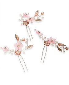 INC 3-Pc. Gold-Tone Crystal & Imitation Pearl Flower Sprig Bobby Pin Set, Created For Macy's
