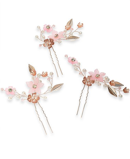 INC International Concepts INC 3-Pc. Gold-Tone Crystal & Imitation Pearl Flower Sprig Bobby Pin Set, Created For Macy's