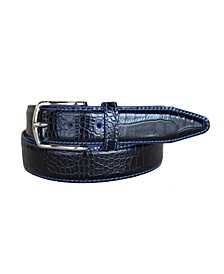 Men's Anzio Italian Calfskin Embossed Alligator Print Leather Dress Belt