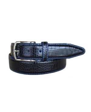 Men's Anzio Italian Calfskin Embossed Alligator Print Leather Dress Belt