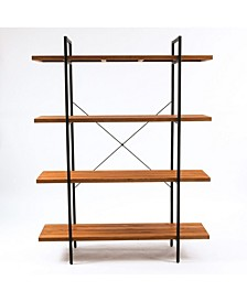 """66.5"""" Height 4-Tier Wood Etagere Bookcase"""