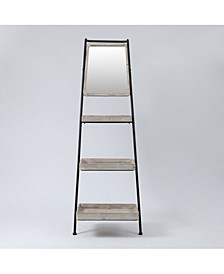 Metal And Wood Ladder Three-Tier Shelf Bookcase