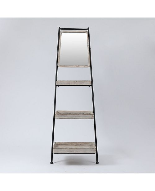 Luxen Home Metal And Wood Ladder Three-Tier Shelf Bookcase