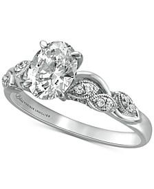 Diamond Oval Milgrain Engagement Ring (1-1/5 ct. t.w.) in 14k White Gold