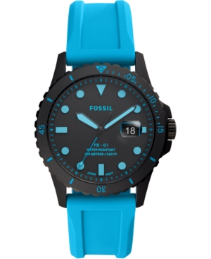 Fossil Jewelry MEN'S FB-01 BLUE SILICONE STRAP WATCH 42MM