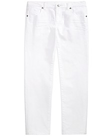 Toddler Boys Stretch Textured Twill White Jeans, Created For Macy's