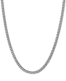"Cuban Link 20"" Chain Necklace in Sterling Silver"