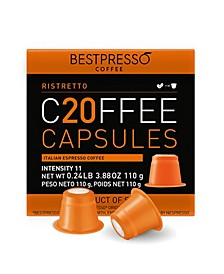 Coffee Ristretto Flavor 20 Capsules per Pack for Nespresso Original Machine