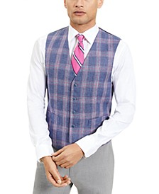 Men's Modern-Fit TH Flex Blue and Red Plaid Windowpane Vest