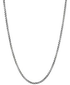 """Rounded Box Link 20"""" Chain Necklace in Sterling Silver"""