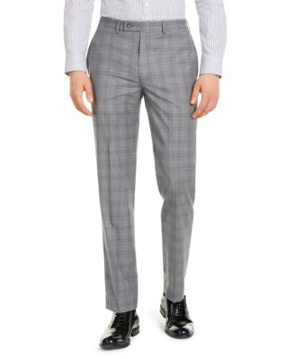 Men's X-Fit Slim-Fit Infinite Stretch Light Gray Blue Plaid Suit Separate Pants