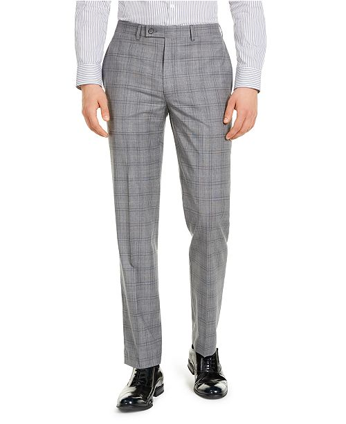 Calvin Klein Men's X-Fit Slim-Fit Infinite Stretch Light Gray Blue Plaid Suit Separate Pants