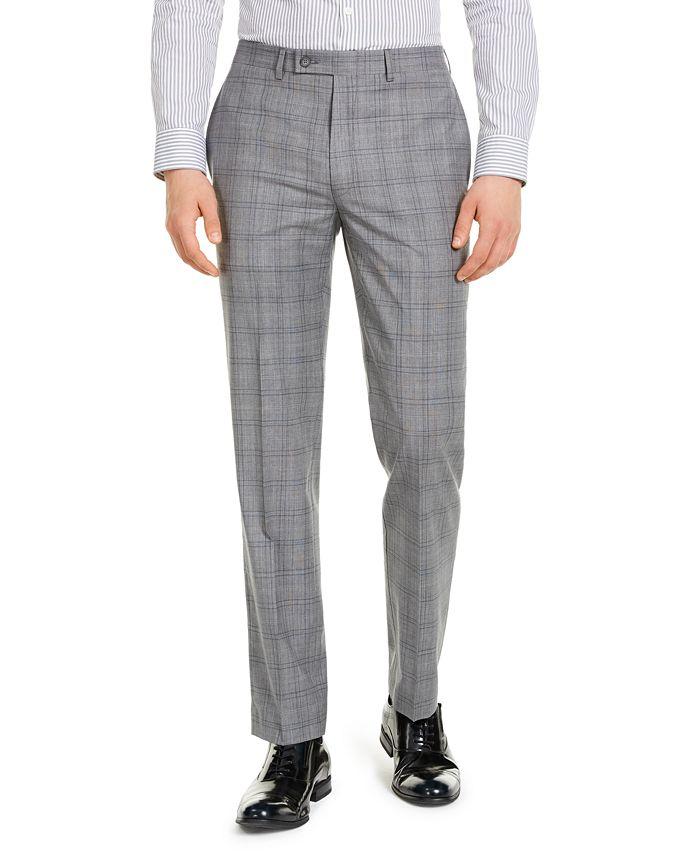 Calvin Klein - Men's X-Fit Slim-Fit Infinite Stretch Light Gray Blue Plaid Suit Separate Pants