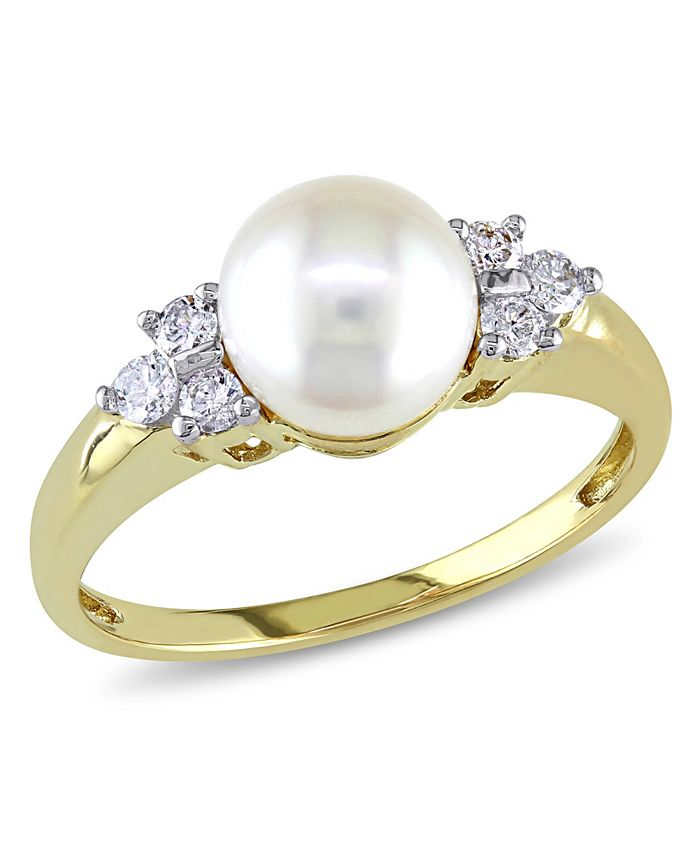 Macy's - Cultured Akoya Pearl (7-7.5mm) and Diamond (1/5 ct. t.w.) Ring in 14k Yellow Gold