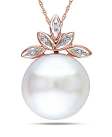 "Freshwater Cultured Pearl (11.5-12mm) and Diamond Accent Leaf 17"" Necklace in 10k Rose Gold"