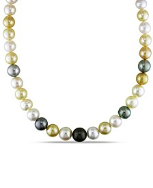 """Multi-Color South Sea and Tahitian Pearl (10-12.5mm) 18"""" Strand Necklace 14k Yellow Gold Clasp"""