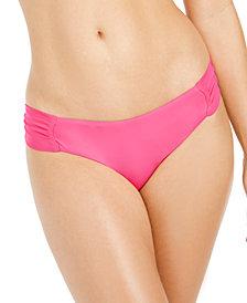 Bar III Sunset Solids Side-Shirred Hipster Bikini Bottoms, Created for Macy's