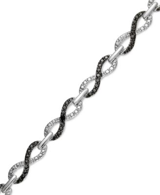 Victoria Townsend Sterling Silver Bracelet, Black and White Diamond Accent Infinity Bracelet