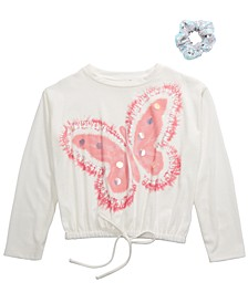 Big Girls 2-Pc. Butterfly Top & Scrunchie Set