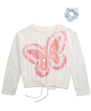 Belle Du Jour Big Girls 2-Pc. Butterfly Top & Scrunchie Set