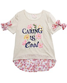 Big Girls 2-Pc. Caring Is Cool Top & Barrettes Set