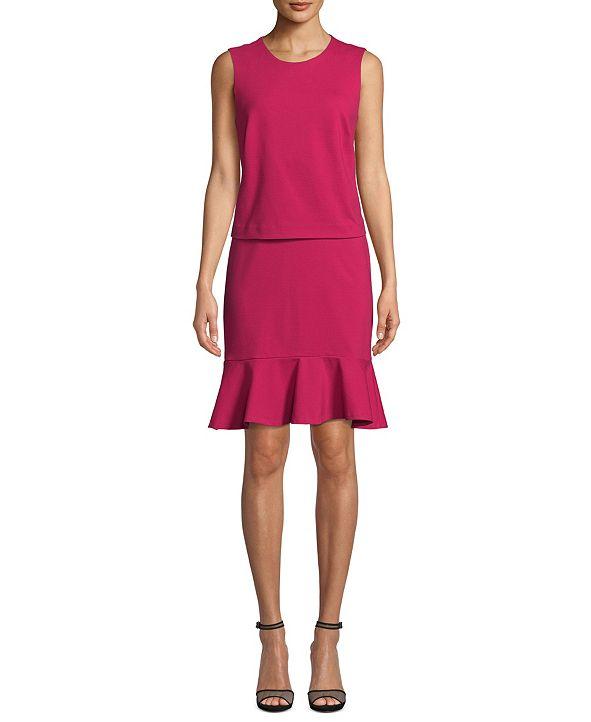 Nicole Miller Ponté-Knit Blouson Dress