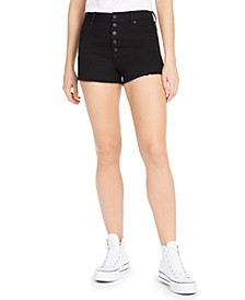Juniors' Ripped High-Rise Button-Front Black Denim Shorts