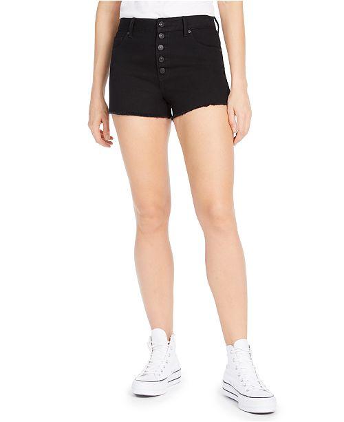 Rewash Juniors' Ripped High-Rise Button-Front Black Denim Shorts