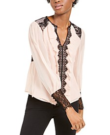 Silk Lace-Trim Blouse