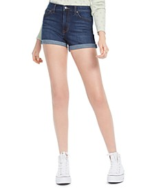 Juniors' High-Waist Cuffed Jean Shorts