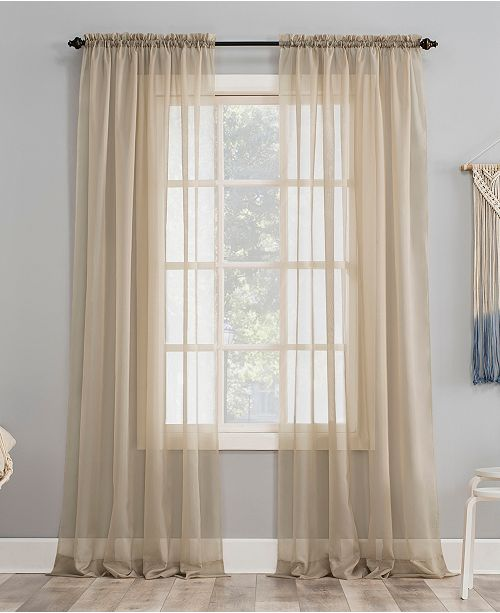 "No. 918 Sheer Voile 59"" x 54"" Rod Pocket Top Curtain Panel ..."