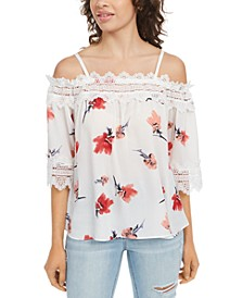 Juniors' Printed Lace-Trimmed Off-The-Shoulder Top