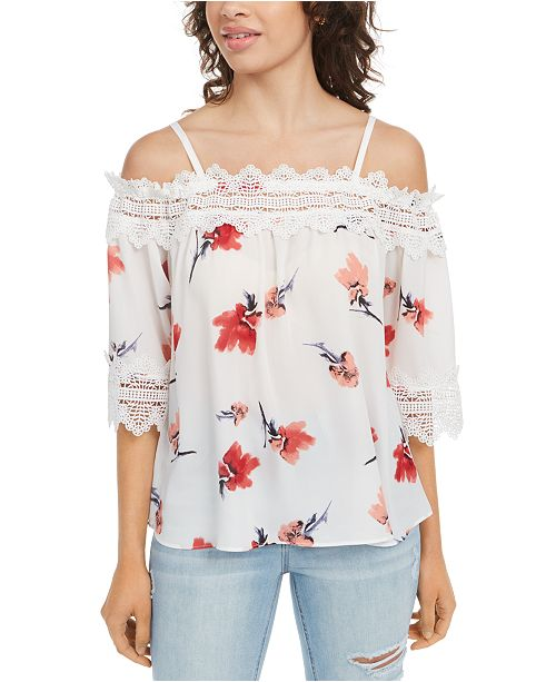 BCX Juniors' Printed Lace-Trimmed Off-The-Shoulder Top