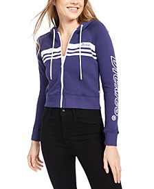Junior's Zip-Front Striped Logo Hoodie