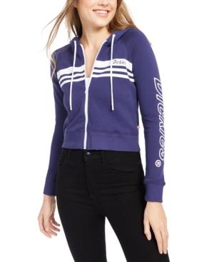 Dickies Junior's Zip-front Striped Logo Hoodie In Sapphire