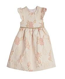 Baby Girls London Flutter Sleeve Brocade Holiday Dress