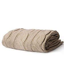 Soft Knitted Dual Cable Throw