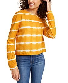 Juniors' Striped Tie-Dye Long-Sleeved T-Shirt