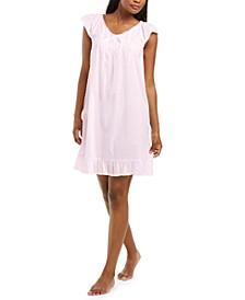 Cotton Ruffle-Hem Swiss Dot Nightgown