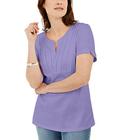 Karen Scott Woven Split-Neck Top, Created for Macy's