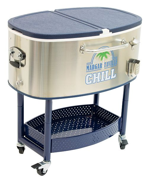 Margaritaville Chill Rolling Stainless Steel Cooler with Wheels - 82 Quart