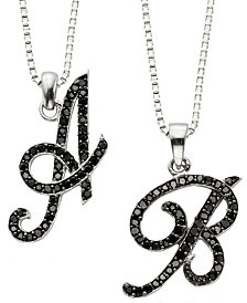 Sterling Silver Black Diamond Initial Pendants (1/4 ct. t.w.)