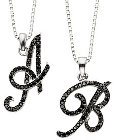 Sterling Silver Black Diamond Initial Pendants (1/4 ct. t.w.)