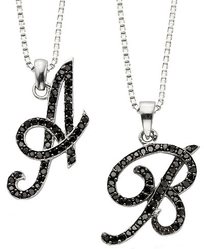 Sterling silver black diamond initial pendants 14 ct tw sterling silver black diamond initial pendants 14 ct tw aloadofball