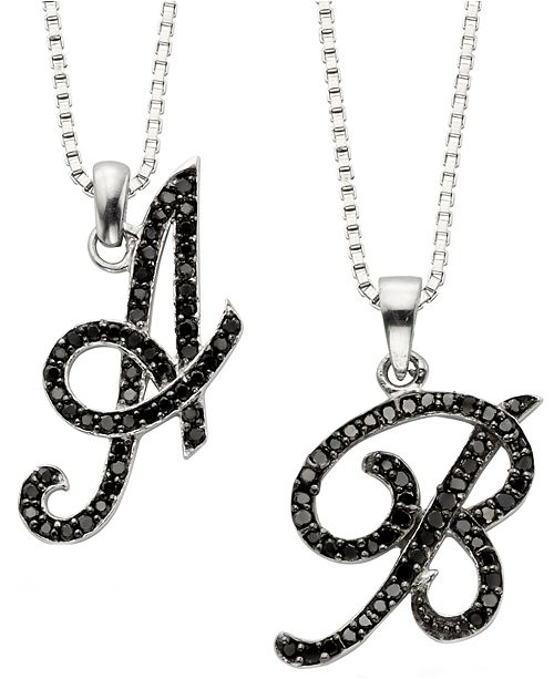 Macys sterling silver black diamond initial pendants 14 ct tw to the letter black diamonds 14 ct tw enliven these chic initial pendantsstunning on their own or layered with other chains for a luxe look aloadofball Images